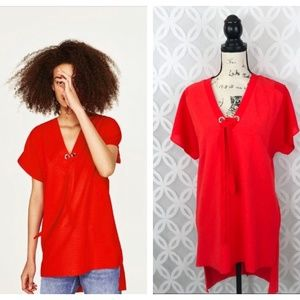 Zara Basic Collection Red Tunic NWT